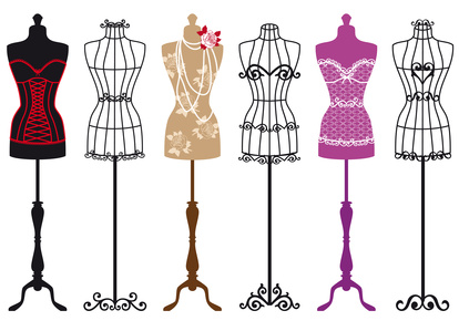 set of stylish fashion dress forms, vector illustration